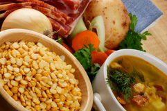 Pea Soup And Ingredients Stock Image