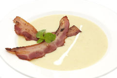 Pea soup and bacon Stock Photos