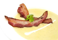 Pea soup and bacon Royalty Free Stock Photos