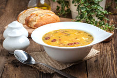 Pea soup with bacon and sausage. Royalty Free Stock Photos