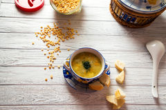 Pea soup. With baked breads Royalty Free Stock Photo