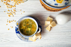Pea soup. With baked breads Stock Image