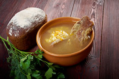 Pea soup with beef ribs Royalty Free Stock Photography