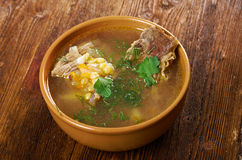 Pea soup with beef ribs Stock Images