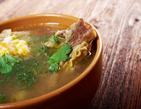 Pea soup with beef ribs Royalty Free Stock Photo