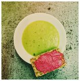 Pea Soup. Beetroot cracker bowl healthy Royalty Free Stock Image