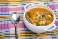 Pea soup in bowl Royalty Free Stock Photo