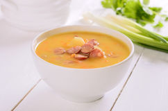 Pea soup in bowl Stock Photo