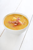 Pea soup in bowl Royalty Free Stock Images