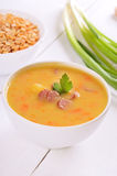 Pea soup in bowl Royalty Free Stock Photography