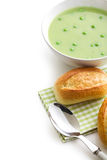 Pea soup with bun Stock Image