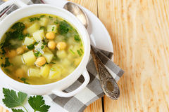 Pea soup with chickpeas Royalty Free Stock Images