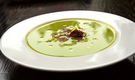 Pea soup with chorizo sausage Stock Image
