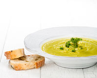 Pea Soup. Close up of delicious homemade split pea soup royalty free stock photo