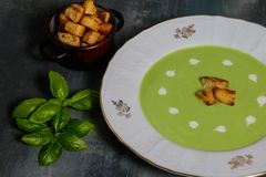 Pea Soup with Croutons Stock Photography
