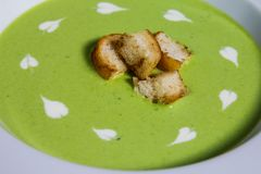 Pea Soup with Croutons Royalty Free Stock Photos