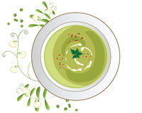 Pea soup. An illustration of a bowl of pea soup in a rich green color with chilli flake  and leaf garnish and pea shoots and flower decoration on a white Stock Photo
