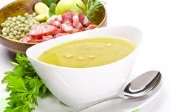 Pea soup and ingredients Royalty Free Stock Photo