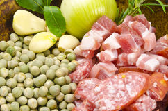 Pea soup and ingredients Stock Photo