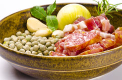 Pea soup and ingredients Royalty Free Stock Photos