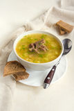 Pea soup with meat Stock Photography