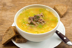 Pea soup with meat Stock Image