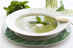 Pea soup with mint Stock Photos