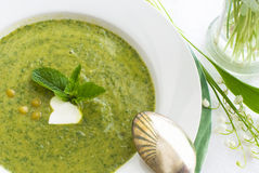Pea soup with mint Royalty Free Stock Photography