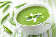 Pea soup with mint Royalty Free Stock Image