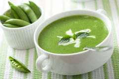 Pea soup with mint Royalty Free Stock Images