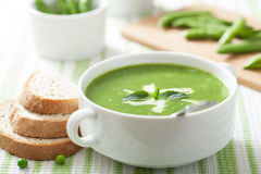 Pea soup with mint Stock Photography