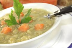 Pea soup with parsley Stock Image