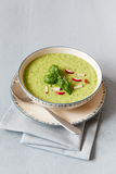 Pea soup with red radish Royalty Free Stock Photos