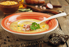 Pea soup with sausage stock images