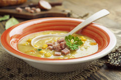 Pea soup with sausage Royalty Free Stock Images