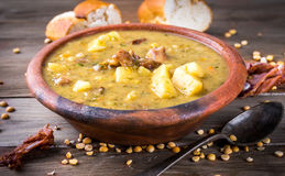 Pea soup with smoked chicken Royalty Free Stock Images