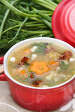 Pea soup with smoked meat Royalty Free Stock Photo