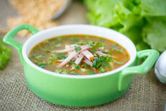 Pea soup with smoked meat Royalty Free Stock Photos