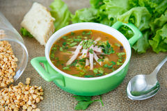 Pea soup with smoked meat Stock Images