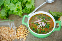 Pea soup with smoked meat Royalty Free Stock Images