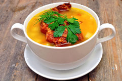 Pea soup with smoked pork ribs Stock Photo