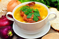Pea soup with smoked pork ribs Royalty Free Stock Image