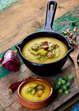 Pea Soup with Smoked Sausages Stock Photography