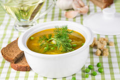 Pea soup in a tureen Stock Photo