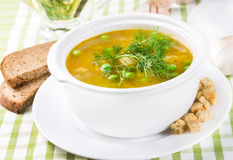 Pea soup in a tureen Stock Image