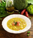 Pea soup with wieners Royalty Free Stock Images