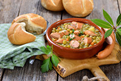 Pea stew with sausages Royalty Free Stock Photos