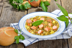 Pea stew with sausages Stock Photography