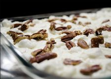 Pecan Delight on top of melted Marshmallows stock photos