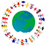 Peacce concept with Earth globe and holding hands people pattern Royalty Free Stock Photography